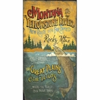 Custom Large Montana and Yellowstone River Vintage Style Metal Sign