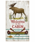 Custom Large Moose Welcome to the Cabin Vintage Style Metal Sign