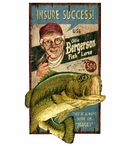 Custom Large Ollie Bass Fishing Lures Vintage Style Metal Sign
