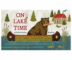 Custom Large On Lake Time Bear with Fish Vintage Style Metal Sign