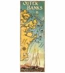 Custom Large Outer Banks Sailing Map Vintage Style Metal Sign