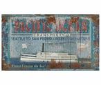 Custom Large Pacific Ocean Transport Co Ship Vintage Style Metal Sign