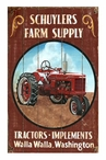 Custom Large Red Tractor Vintage Style Metal Sign