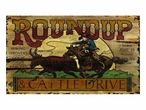 Custom Large Roundup and Cattle Drive Vintage Style Metal Sign