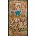 Large Silver Saddle Saloon & Dance Hall Vintage Style Metal Sign