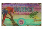 Custom Large South Beach Hotels Parrot Lounge Vintage Style Metal Sign