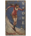 Custom Large Stowe Vermont Classic Skiing Vintage Style Metal Sign