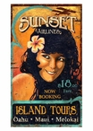 Custom Large Sunset Airlines Vintage Style Metal Sign