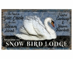 Custom Large Swan Snow Bird Lodge Vintage Style Metal Sign