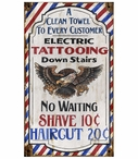 Custom Large Tattooing Shave Haircut Vintage Style Metal Sign