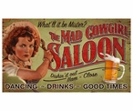 Custom Large The Mad Cowgirl Saloon Vintage Style Metal Sign