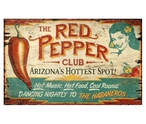 Custom Large The Red Pepper Club Vintage Style Metal Sign