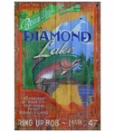 Custom Large Trout Diamond Lake Vintage Style Metal Sign