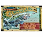 Custom Large Trout Fishing Resort Vintage Style Metal Sign