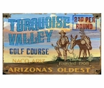 Custom Large Turquoise Valley Golfing Vintage Style Metal Sign