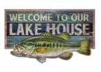 Custom Large Welcome to Lake House with Bass Vintage Style Wooden Sign