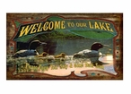 Custom Large Welcome to Our Lake with Loons Vintage Style Metal Sign