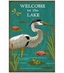 Custom Large Welcome to the Lake Heron Bird Vintage Style Metal Sign