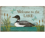 Custom Large Welcome to the Lake Loon Bird Vintage Style Metal Sign