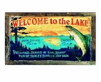 Custom Large Welcome to the Lake Vintage Style Metal Sign