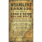 Custom Large Wranglers Cattle Drive Vintage Style Metal Sign