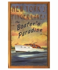 Custom New York Finger Lakes Boaters Paradise Vintage Style Metal Sign