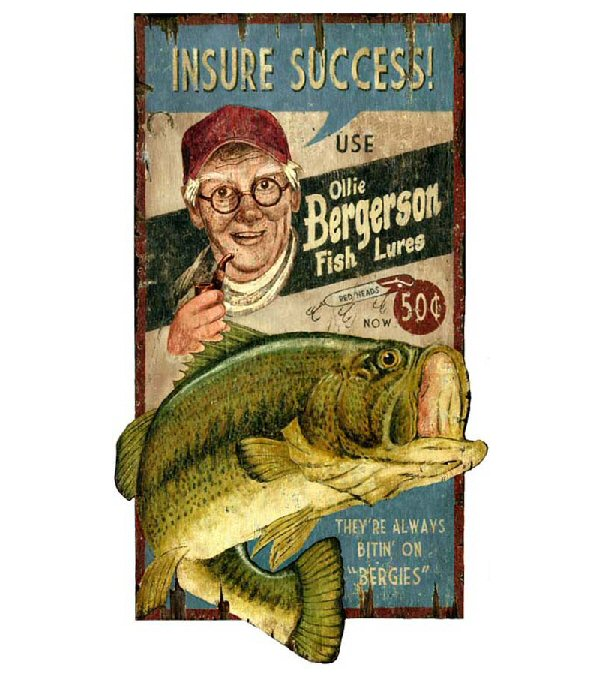 Custom ollie bass fishing lures vintage style metal sign for Vintage fishing signs