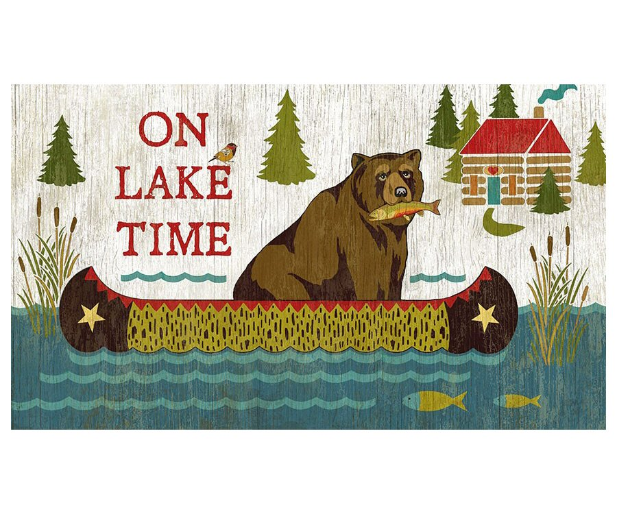 Custom on lake time bear with fish vintage style metal for Vintage fishing signs