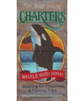 San Juan Island Charters Whale Watching Vintage Style Metal Sign