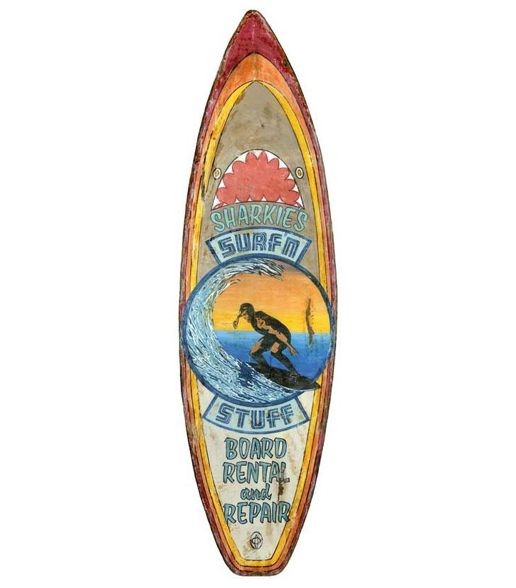 Custom Sharkies Surf N Stuff Surfboard Cutout Vintage Style Wood Sign