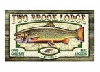 Custom Two Brook Trout Lodge Vintage Style Wooden Sign