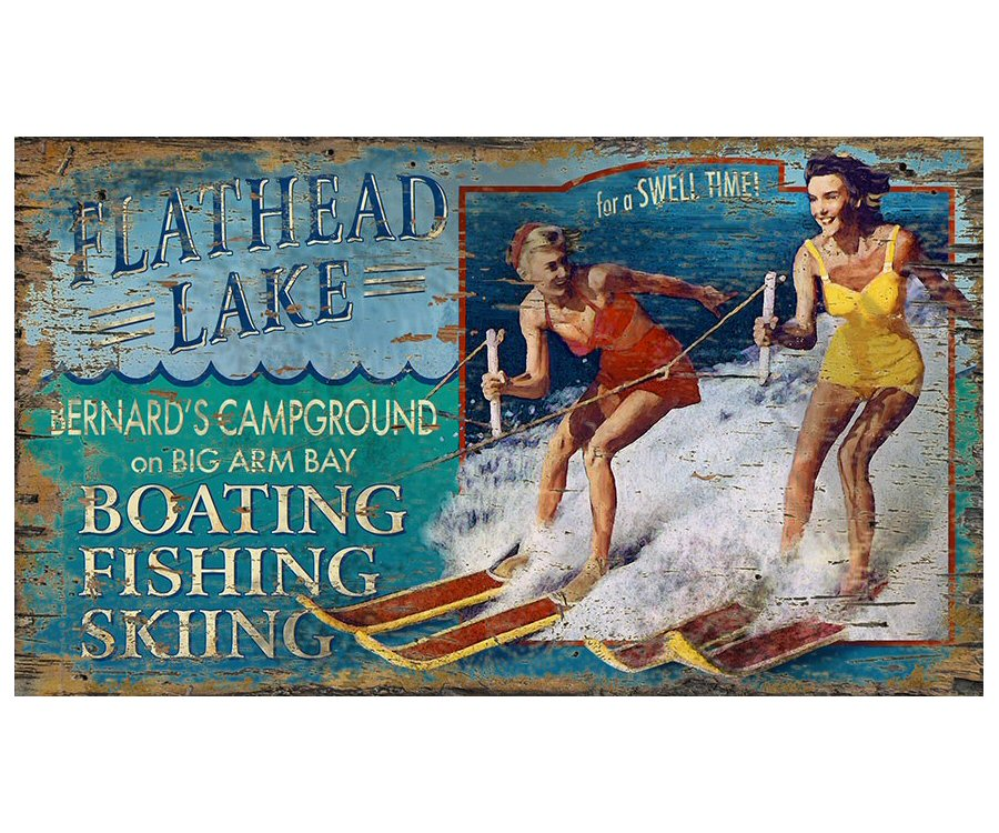 Attractive Customizable Water Ski Boating Flathead Lake Vintage Style Wooden  CY39