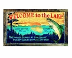 Custom Welcome to the Lake Vintage Style Metal Sign