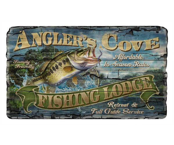 Customizable large anglers cove bass fishing vintage style for Vintage fishing signs