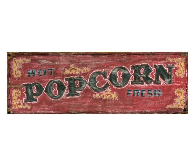 Customizable Red Hot Fresh Popcorn Vintage Style Wooden ...