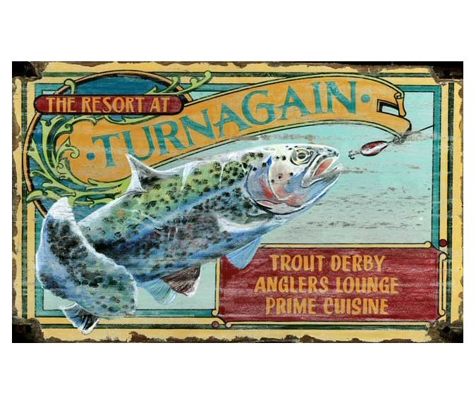 Customizable trout fishing resort vintage style wooden for Vintage fishing signs