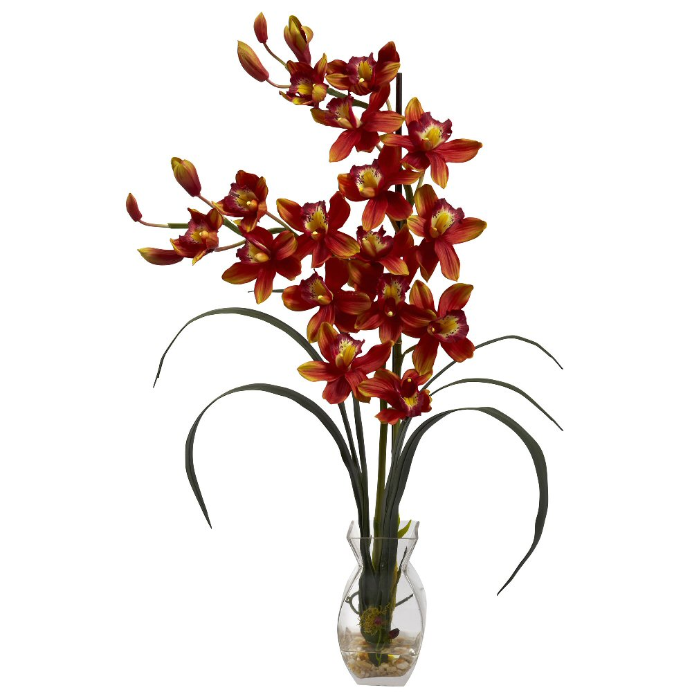 Cymbidium burgundy orchid silk flower arrangement with vase cymbidium burgundy orchid silk flower arrangement with vase mightylinksfo