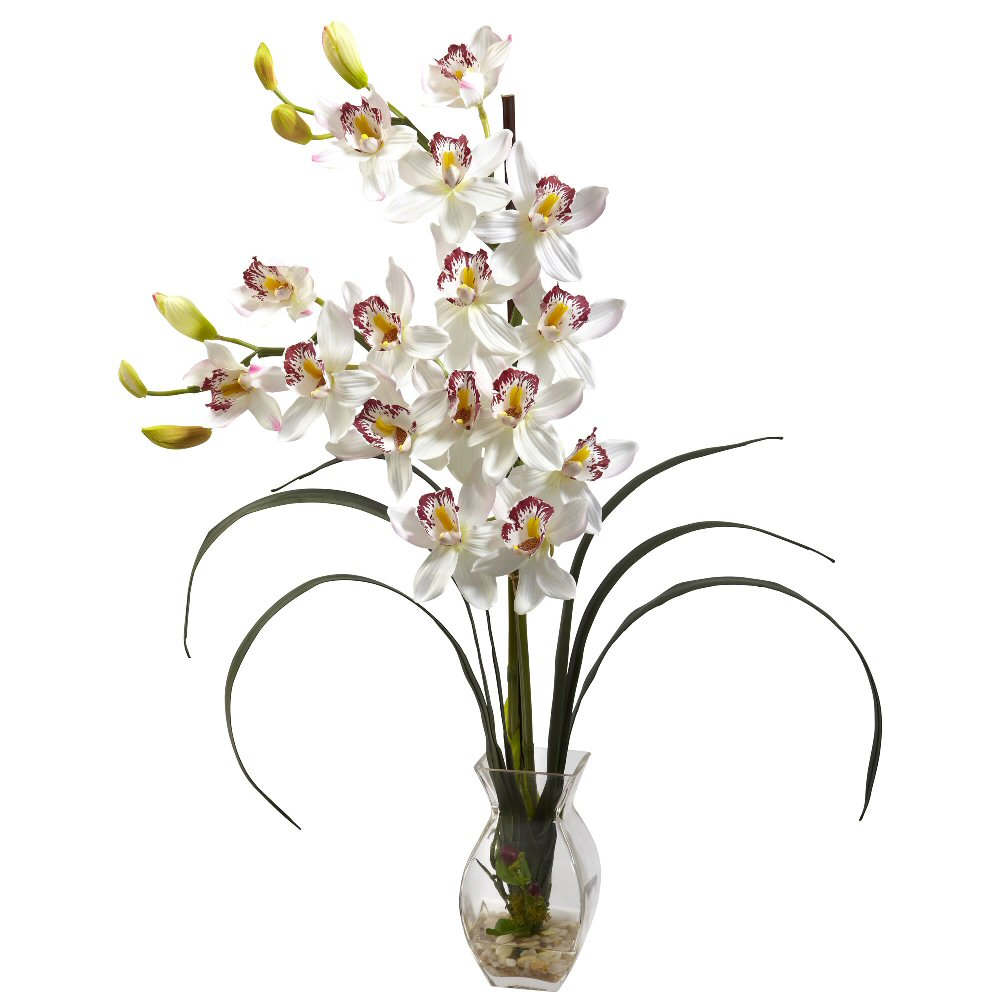 Cymbidium White Orchid Silk Flower Arrangement With Vase