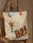 D-25 Stonewashed Canvas and Soft Leather Tote Bag