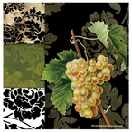 Damask Lerain Grape Bunch Absorbent Coasters by Color Bakery, Set of 8