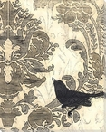 Damask Songbird 1 Wrapped Canvas Giclee Print Wall Art