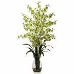 Dancing Lady Green Orchid Silk Flower Arrangement with Vase