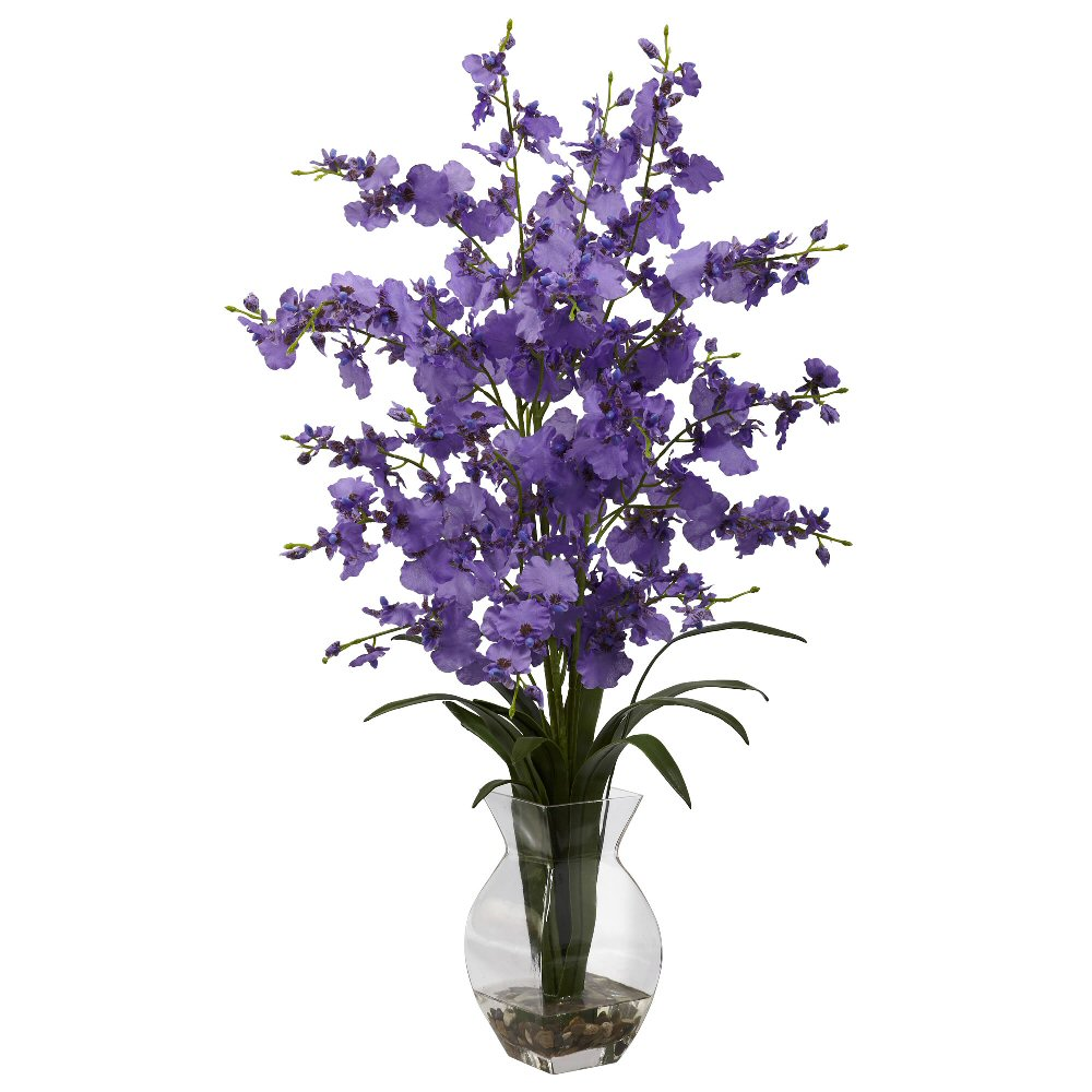 Dancing Lady Purple Orchid Silk Flower Arrangement with Vase  Artificial Flowers  Silk Flowers