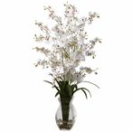 Dancing Lady White Orchid Silk Flower Arrangement with Vase