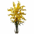 Dancing Lady Yellow Orchid Silk Flower Arrangement with Vase