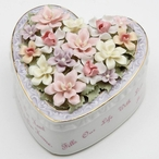 Daughter Heart with Flowers Musical Music Box Sculpture