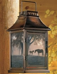 Dawn's First Light Horses Metal and Glass Candle Lantern