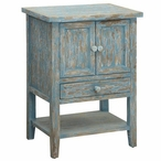 Dawson Creek 1 Drawer with 2 Door Cyan and Weathered Oak Wood Chest