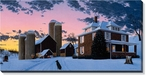 December Evening Farm Scene Panoramic Wrapped Canvas Giclee Print