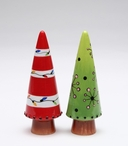 Decorated Trees Ceramic Salt and Pepper Shakers by Babs, Set of 4